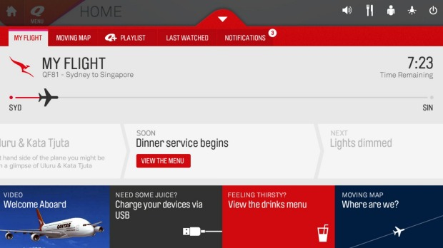 The new Qantas in-flight entertainment will feature a service timeline showing when drinks and meals will be served and ...