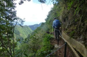 Highlight: A hiker negotiates his way along the steep-sided Ribeiro Frio levada.