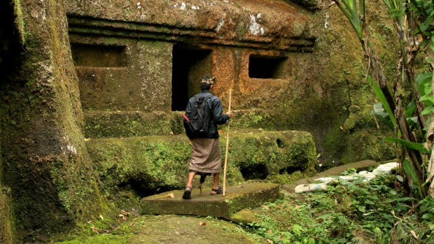 Search for enlightenment: Gede at the 10th-century meditation caves near Ubud.