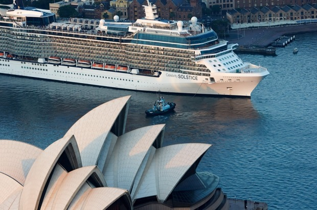 Celebrity Solstice cruises into Sydney Harbour.