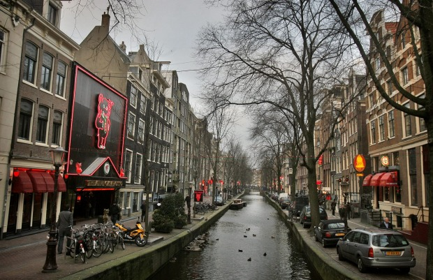 Can't miss Europe's 'den of sin': The red light district in Amsterdam.