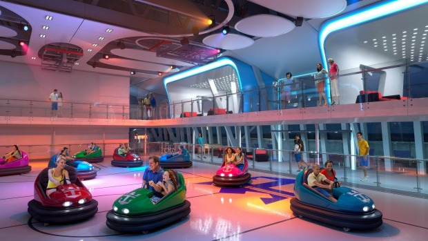 Ride bumper cars at the SeaPlex, the largest indoor active space at sea.