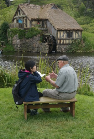 Hobbit style: Farm owner Ian Alexander chats to a visitor.