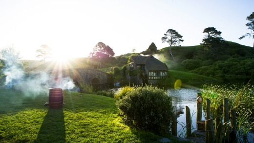 Perfect ending: Twilight descends on the Mill House at Hobbiton,