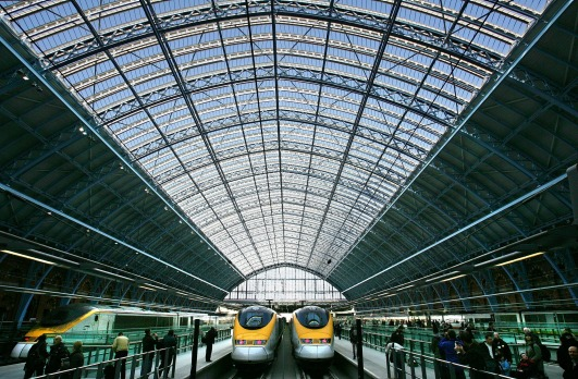 Eurostar trains at St Pancras International station in London.