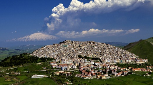 Hot picks: Gangi, Sicily, with Mount Etna erupting in the background.