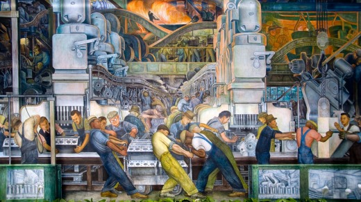 A 1933 car workers' by Diego Rivera at the Detroit Institute of Art.