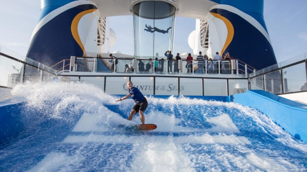 The Flowrider surf simulator on board Quantum of the Seas.