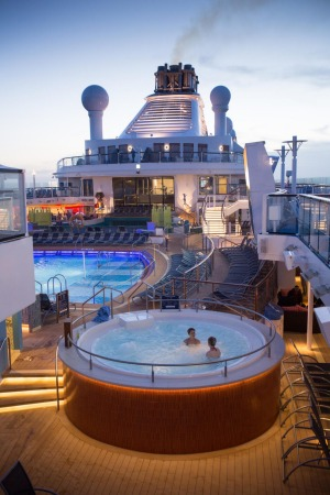The pool deck on board Quantum of the Seas.