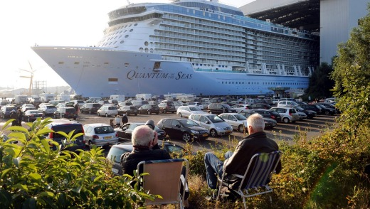 The new cruiser Quantum of the Seas at the dry dock in Papenburg, Germany.