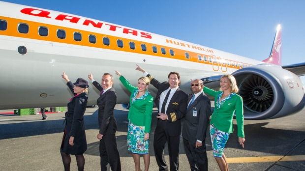 John Travolta was on hand as Qantas took delivery of the seventies themed aircraft.