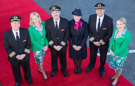 Flight attendants in original Qantas uniforms from the 1970s at the launch of the airline's new retro-livery on its ...