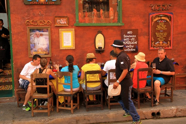 Alfresco dining in Cartagena, Colombia.