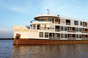 Floating accommodation: The ship La Marguerite on the Mekong River.