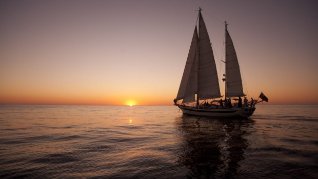 Luxury ketch: Lady Eugenie off the Tasmanian coast.