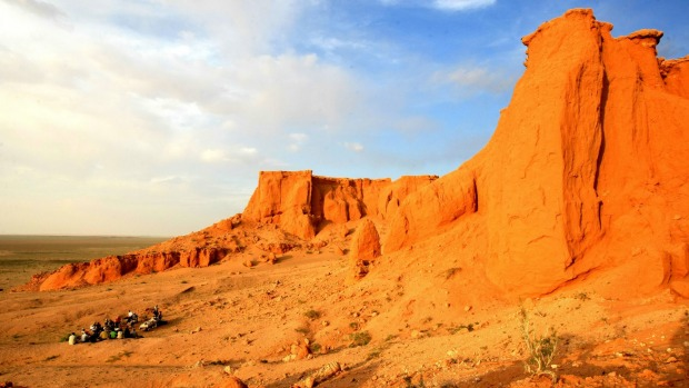 Varied landscapes: The Flaming Cliffs in Mongolia.