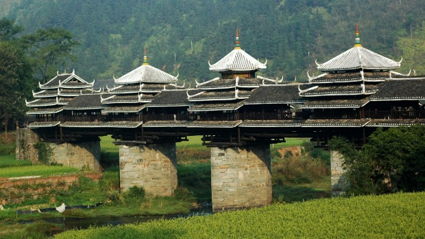 "The ""Wind and Rain"" bridge, Chengyang, China."