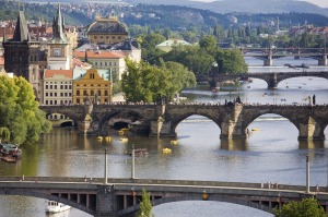 Charles Bridge on Vltava River in Prague.