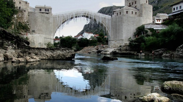 A newly-built replica bridge of the 16th century Stari Most (Old Bridge) in Bosnia's southern town of Mostar.