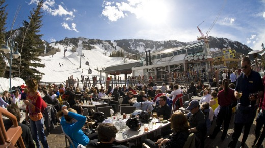 Wind down: When the skiing stops the action really begins; it's apres time at Ajax tavern next to the Little Nell.