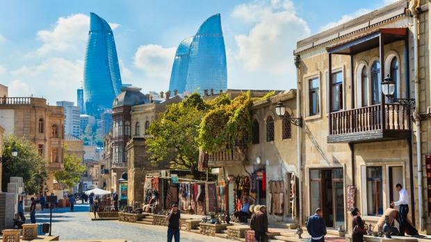 Capital of Azerbaijan, Baku, with the Flame Towers skyscrapers in the background.