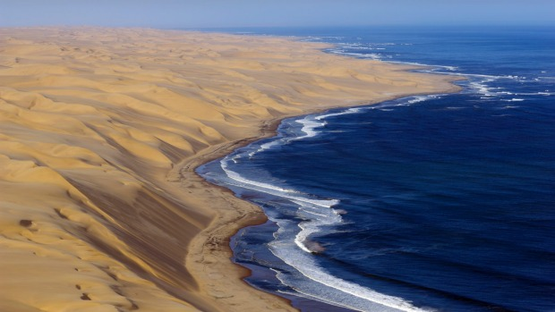 Desert dunes on the Namibian coastline.