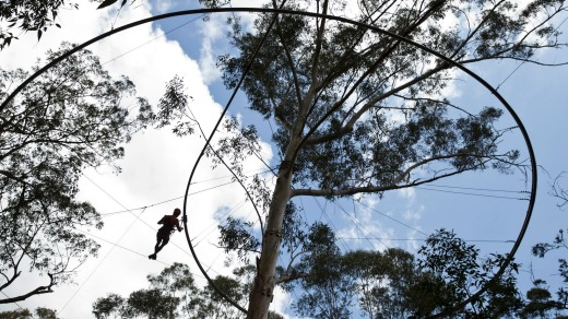 Through the trees: At one-kilometre long and 18-metres high, this is the world's longest roller-coaster zip line.