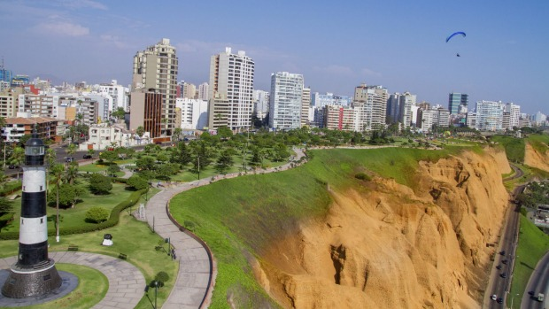 Aerial view of Miraflores Park, Lima