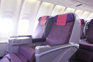 Thai Airways 747 business class seats.