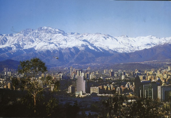 Picture shows a postcard view of Santiago, Chile.