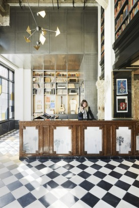 Chequered floorboards in the lobby of the Ace Hotel.