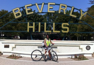 Photo finish: Julie Miller battled sapping humidity in LA, and has the photo to prove it.