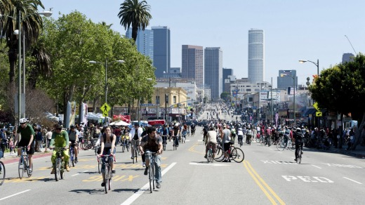 Friendly streets: Downtown LA and its annual CicLAvia Bike event.