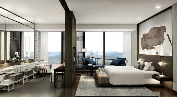 A guest room at NUO Hotel, Beijing, China.