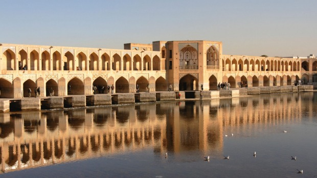The Khaju Bridge in Isfahan, Iran is multi-functional, serving as a weir and a public meeting place as well as a bridge.