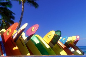 Tropical dream: Surfboards stacked up on Waikiki Beach, Hawaii.