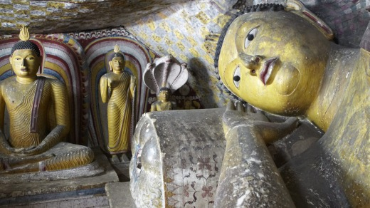 The giant statues at the Dambulla Caves.