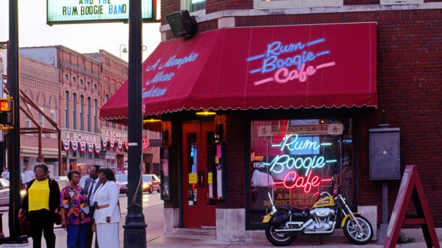 Famous shop: The Schwab department store behind the Rum Boogie Cafe in Beale Street, Memphis.