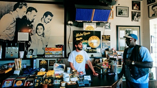 Shrine to Elvis: The cafe at Sun Studios, Memphis, Tennessee.