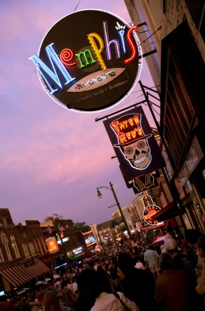 Party central: Beale Street, Memphis, Tennessee.