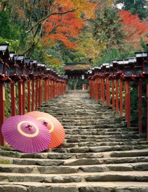 Find elegance in ancient Kyoto: The Kibune shrine.