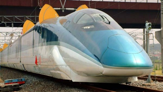 "The Shinkansen bullet train ""Fastech 360S"", unveiled in 2005, aims to be the world's fastest train service."