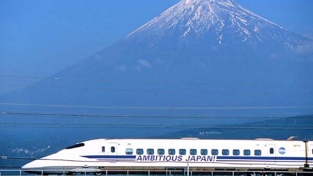 A bullet train passes Mount Fuji.