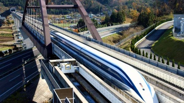 Japan's experimental maglev set the world's top speed for a train in 2003, clocking at 581 kph in a test run.