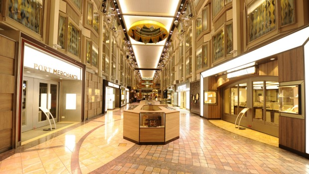 Royal Promenade: The marble-floored boulevard on the Voyager of the Seas.