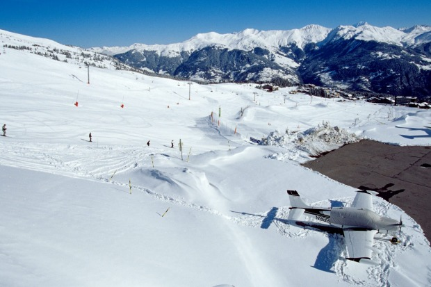 Courchevel, a high altitude airport in France, where the runway actually resembles a ski slope.
