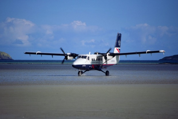 Barra Airfield on Traigh Mhor Beach, Scotland: The airport handles around 1,000 flights each year, but only when the ...