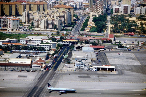 Gibraltar Airport: A pair of flimsy-looking barriers the only thing preventing a nasty collision between a 747 and a ...
