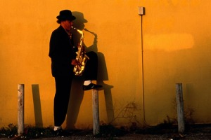 Man plays sax in New Orleans.