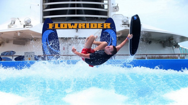 Flowrider champion Adam Wildman demonstrates how it's done on board Voyager of the Seas.